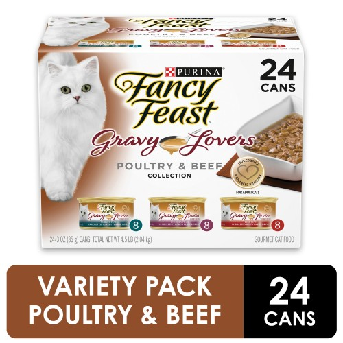 (24 Pack) Fancy Feast Gravy Wet Cat Food Variety Pack Gravy Lovers Poultry & Beef Feast Collection 3 oz. Cans