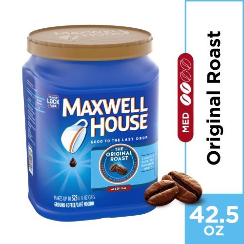 Maxwell House Original Roast Ground Coffee, Caffeinated, 42.5 oz Can