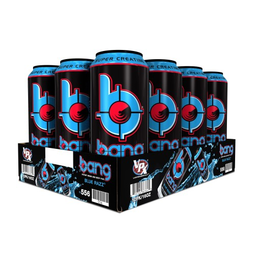 Bang Blue Razz Energy Drink with Super Creatine, 16 fl oz x 12 cans