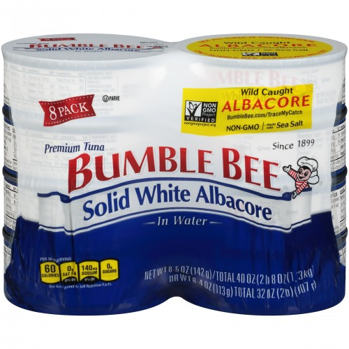 Bumble Bee Solid White Albacore Tuna in Water, 5oz x 8 Cans