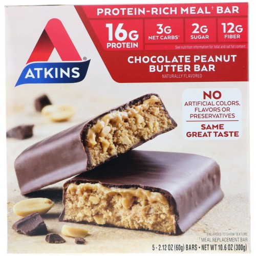 Atkins Meal Bar, Chocolate Peanut Butter Bar, 5 Count x 1 pack