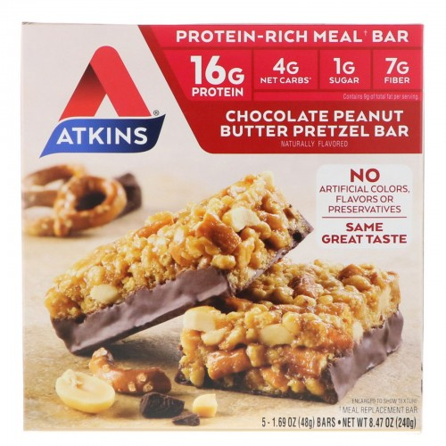 Atkins Chocolate Peanut Butter Pretzel Bar, 5 Count x 1 pack