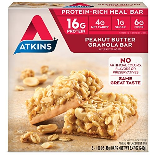 Atkins Protein-Rich Meal Bar, Peanut Butter Granola, Keto Friendly, 5 Count x 1 pack
