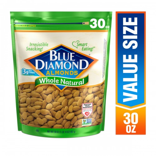Blue Diamond Almonds Whole Natural Almonds 30 oz. x 1 Bag