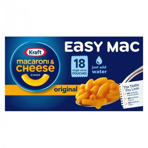 KRAFT EASY MAC Original Flavor Single Serve Pouches, 6.7oz x 18 packets