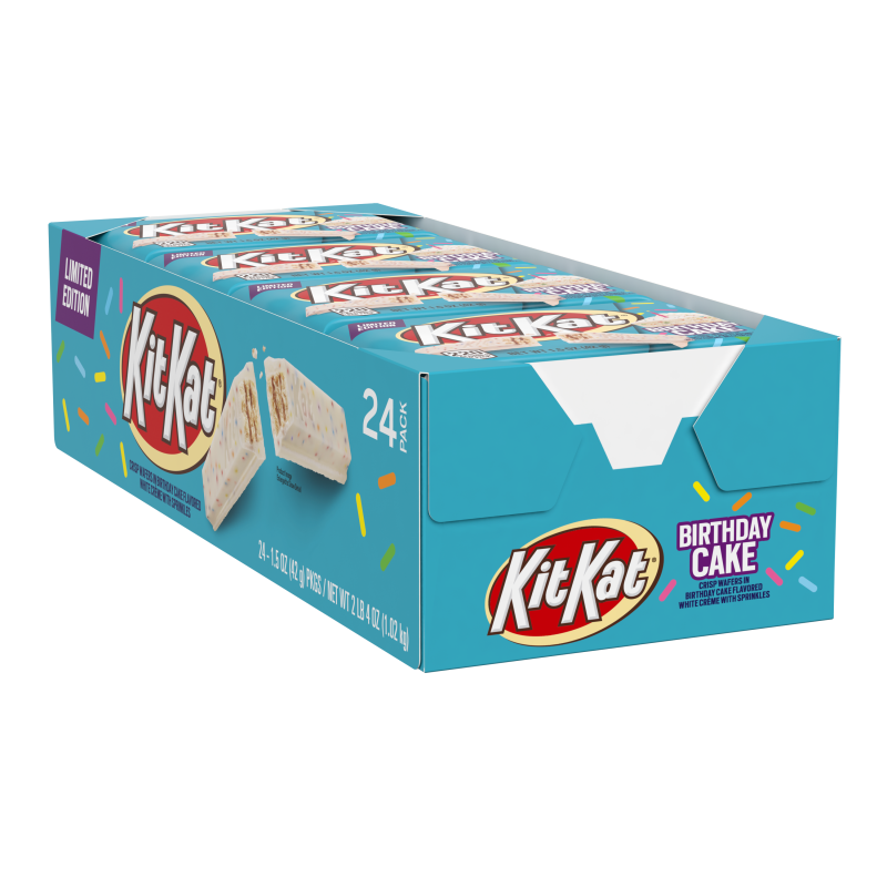 Kit Kat, Limited Edition Crisp Wafers in Birthday Cake Flavored White Crème with Sprinkles Candy Bar Box, 1.5 Oz, x 24 pieces