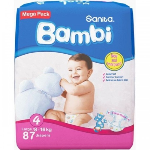 Sanita Bambi Diapers, Large size 4, 87 Diapers x 1 Pack