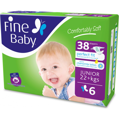 Fine Baby Junior Diapers Size 6-38 Diapers x 1 Pack
