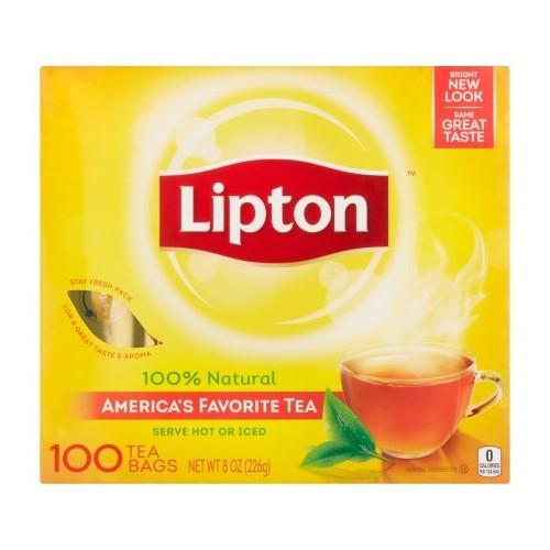 Details about  Lipton Tea Bags 100 % Natural Tea Regular 100 Tea Bags x 1 Pack