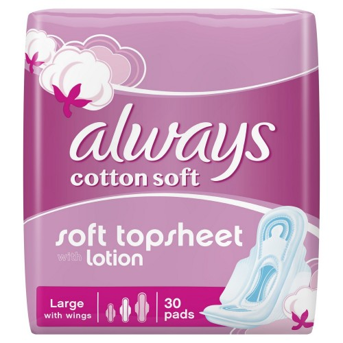 ALWAYS Cotton Soft Sanitary Pads, Large, 30 Count x 1 pack