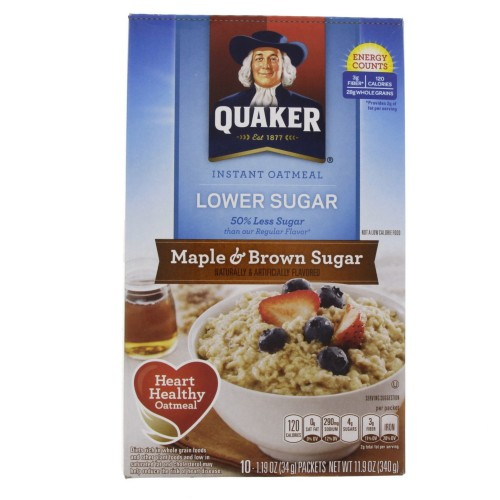 Quaker Instant Oatmeal Lower Suger Maple And Brown Suger 340g x 1pc
