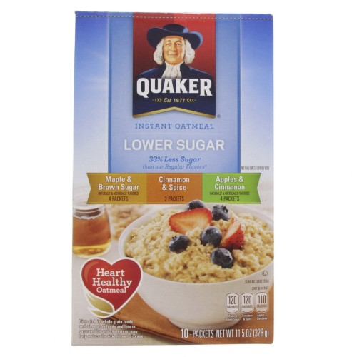 Quaker Instant Oatmeal Variety Flavor Lower Sugar 328g x 1pc